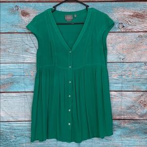 Anthropologie Vanessa Virginia Green Tunic Shirt